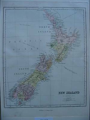 86639-New Zealand-Neuseeland-Landkarte-Map-Lithographie-Lithography