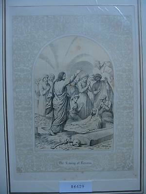 86629-Bibel-Bible-Jesus-Christ-Lazarus-mit Ornament-Stahlstich-Steel engraving