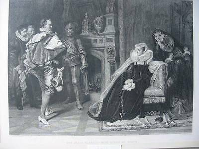 87078-Frauen-Woman-Mary Queen of Scots-nach Piloty-Stahlstich-Steel engraving