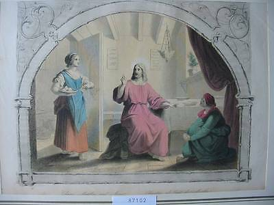 87102-Bibel-Bible-Jesus-Christ-Martha & Mary-Koloriert-Stahlstich-Steelengraving