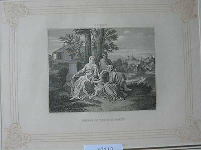 87210-Repose of the Holy Family-nach Poussin-Kupferstich-copper engraving