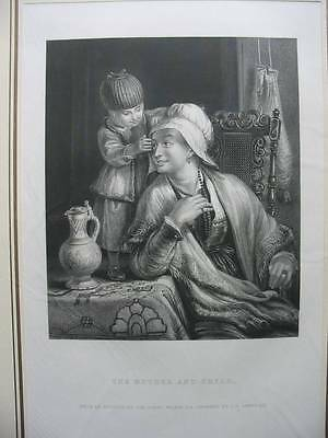 87452-Sir David Wilkie-The Mother And Child-Stahlstich-engraving