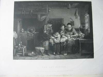 87403-Sir David Wilkie-The Cut Finger-Stahlstich-engraving