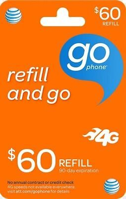 AT&T GoPhone $60 Refill. Real Time Reload Directly to Phone. No PIN Needed