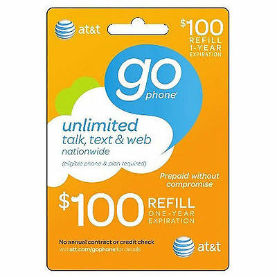 AT&T GO PHONE $100 Refill! Fast Reload DIRECTLY to Phone.