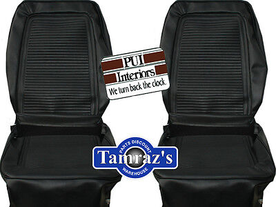 1964 1965 Barracuda Fastback Front Seat Covers Upholstery Black PUI New