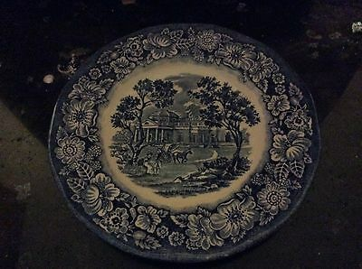 "Liberty Blue Staffordshire Monticello Bread Butter 6"" Plate Made In England"