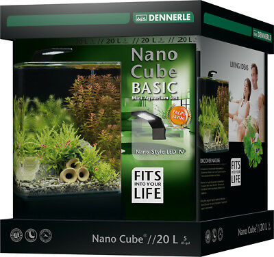 Dennerle Nano Cube Aquarium Complete Tank Set - 20L Light and Filter - Shrimp