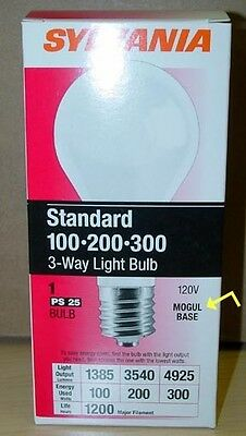 Lot of 3 Sylvania Mogul Base 3-Way 100/200/300 Watt Incandescent Light Bulb Lamp