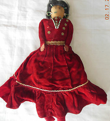 AUTHENTIC NATIVE AMERICAN NAVAJO VINTAGE LARGE RED VELVET DOLL Ca. 1930