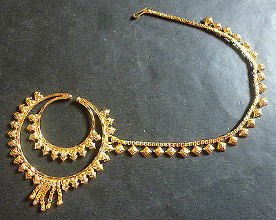 Gold Plated Indian Designer Nose 2 Rings Chain Wedding Bridal Jewelry Set