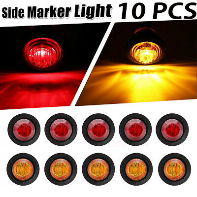 "10x 12v 24v Amber Red 3/4"" Bullet Clearance Side Marker Truck Trailer LED Lights"