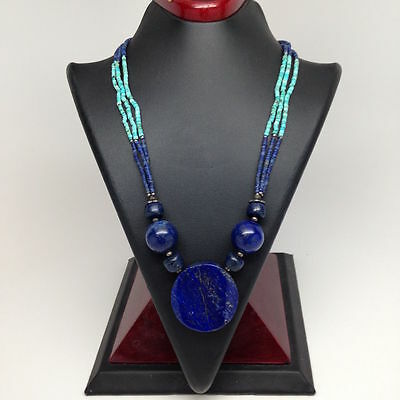 Afghan Turkmen Tribal Natural Lapis Lazuli & Turquoise Inlay Beaded Necklace Afg