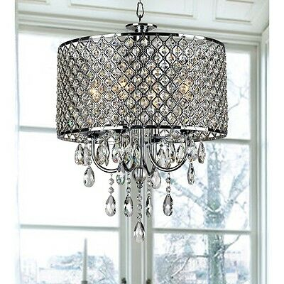 Vintage Chandelier Fixture Light Iron Chrome Finish Cage Crystal Ceiling Chain