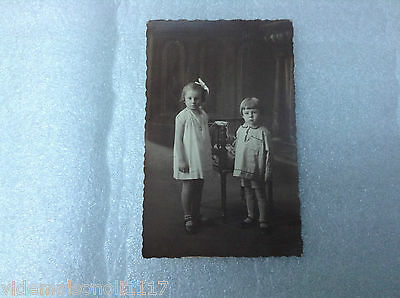 "Ancienne carte postale photo ""  2 enfants """