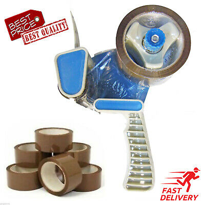 Parcel Tape Dispenser Gun + 7 Rolls of Brown Parcel Tape *HIGH QUALITY*