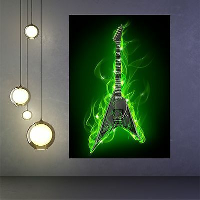 Electric guitar in green fire and flame poster print wall art