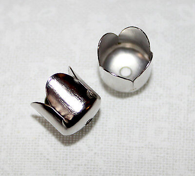 50x Silver tulip flower end/bead cones - perfect for tassel caps - 8mmx8mm