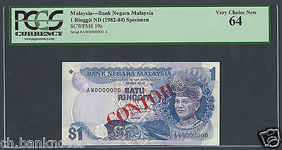 Malaysia 1 Ringgit ND(1982-84) P19s Specimen Choice Uncirculated