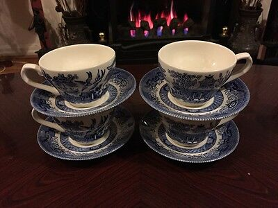4 Churchill Blue Willow Cups And Saucers