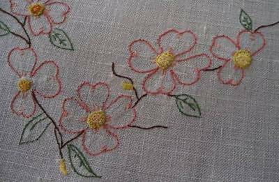 Vintage Pair Linen Table Runners French Knot Embroidered Dogwood Flower Set Pink