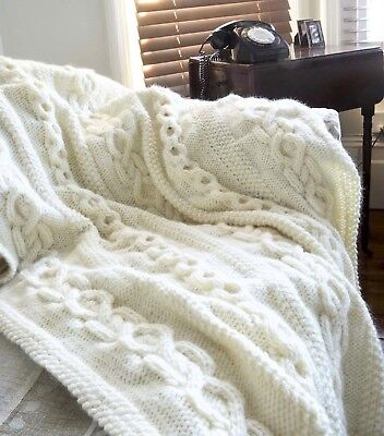 (71) Super Chunky Knitting Pattern for Cable Throw