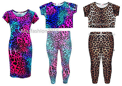 Girls Kids New Leopard Neon Print Pinky Midi Dress,Leggings & Crop Top 7-13 Yrs