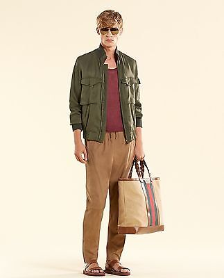 604bc5fdc4c NEW Authentic Gucci Mens Silk Bomber Military Jacket Olive Green 333620 3356