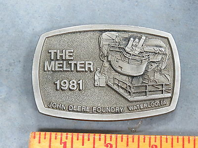 John Deere Foundry Waterloo The Melter BELT BUCKLE Employee ONLY RARE 1981