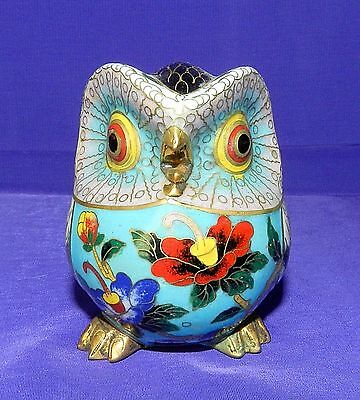 Antique Hand Made Cloisonne Copper Enamel Gilded Owl Very Rare