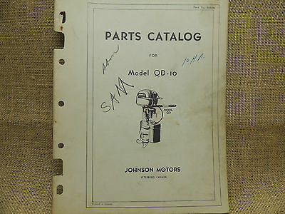 1949 - 1950 Johnson Sea Horse Parts Catalog Models QD-10  10 horse