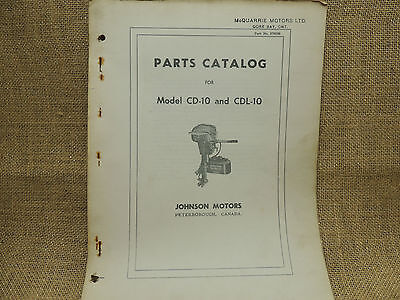 1954 Johnson Sea Horse Parts Catalog Models CD-10 CDL-10