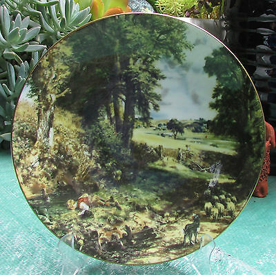Stunning Vintage Crown Staffordshire Cabinet Plate John Constable The Cornfield
