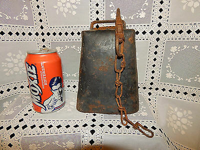 "Antique Vintage Massive Huge Heavy 7"" Cow Bell Hand Forged Bull Farm Clapper Old"