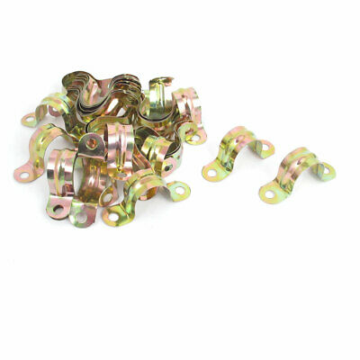 20mm Arch High Two Holes U Type Pipe Clamp Clips Bronze Tone 30 Pcs