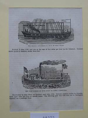 88272-Seefahrt-Schiffe-Ship-Marine-John Fitch-First Steamboat-TH-Wood engraving