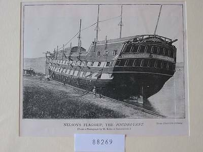 88269-Seefahrt-Schiffe-Ship-Marine-Nelson Flagship-T Holzstich-Wood engraving
