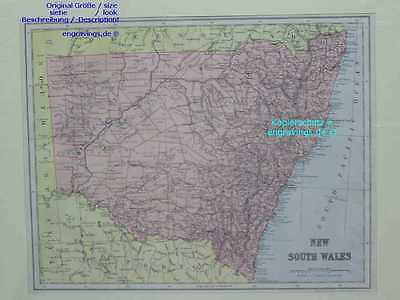 Australien-NEW SOUTH WALES-Australia-MAP-1890-28x22cm-Lithographie-Lithography