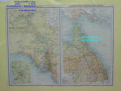 Australien-SOUTH-QUEENSLAND-GUINEA-Australia-42x21 cm-Lithographie-Lithography