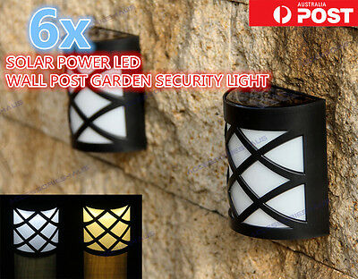 6x OUTDOOR SOLAR POWER LED SECURITY WALL FENCE MOUNT PATHWAY GARDEN LIGHT LAMP