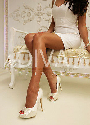 Menbur Wedding Strass Peep Toe Pumps Brautschuhe Ivory Satin 38
