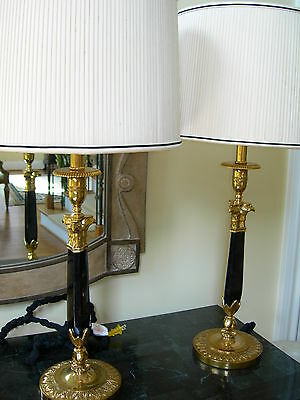 Maitland Smith Pair of Golden Brass Black Penshell Candlestick Table Lamps