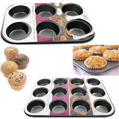 Non-Stick 6 Cups Muffin Baking Tray Metal Pan CupCake Pans Mould Bakeware Light