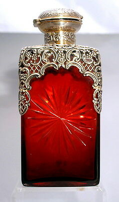 William Comyns English Sterling Silver & Ruby Glass Decanter