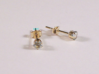 New Ladies 9ct 9Carat Yellow Gold Blue Topaz Studs Earrings 3mm Hallmarked