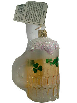 "Old World Christmas Celtic ""Irish Beer"" Ornament-GLASS Irish Lucky Clover OWC"
