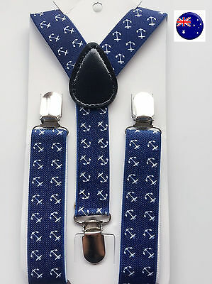 Kid Child Boy Costume Party Sailor Blue Marine Anchor Brace Elastic Suspender