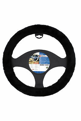 Car Steering Wheel Cover Glove Fluffy Suzzy Plush Black 37-38cm Universal Fit
