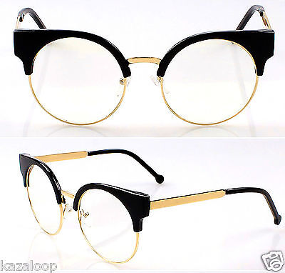 Quality Womens Round Oval Lens Cat Eye Clear lens Fashion Glasses Specs
