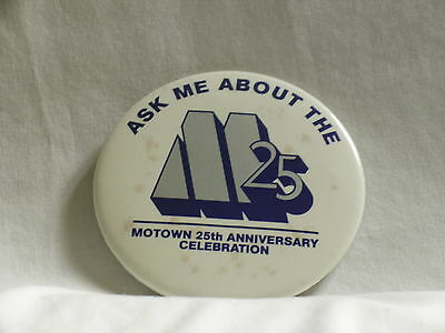 """MOTOWN 25th Anniversary Celebration 3"""" round pin-back button promo only pin"""